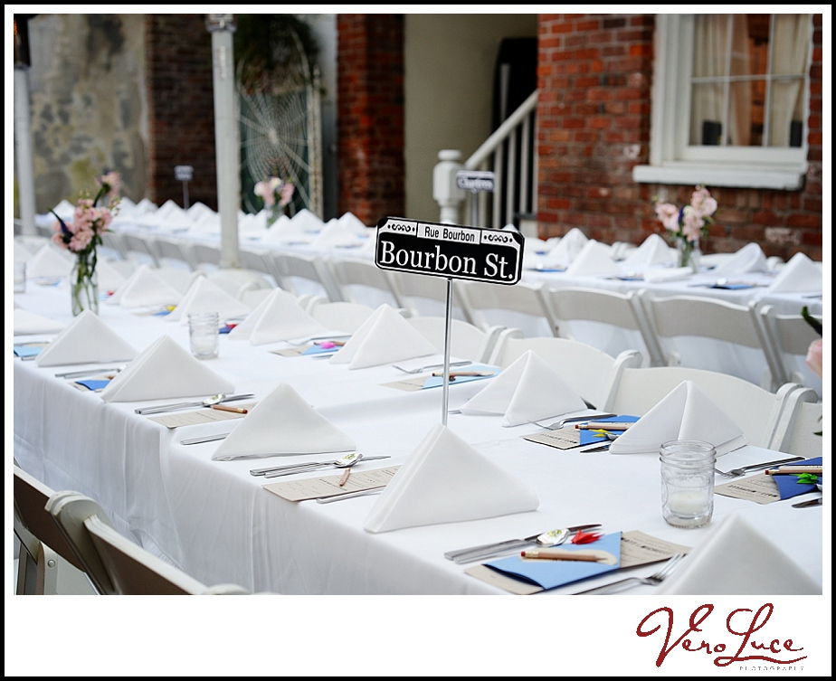 New Orleans wedding table at Cafe Amelie